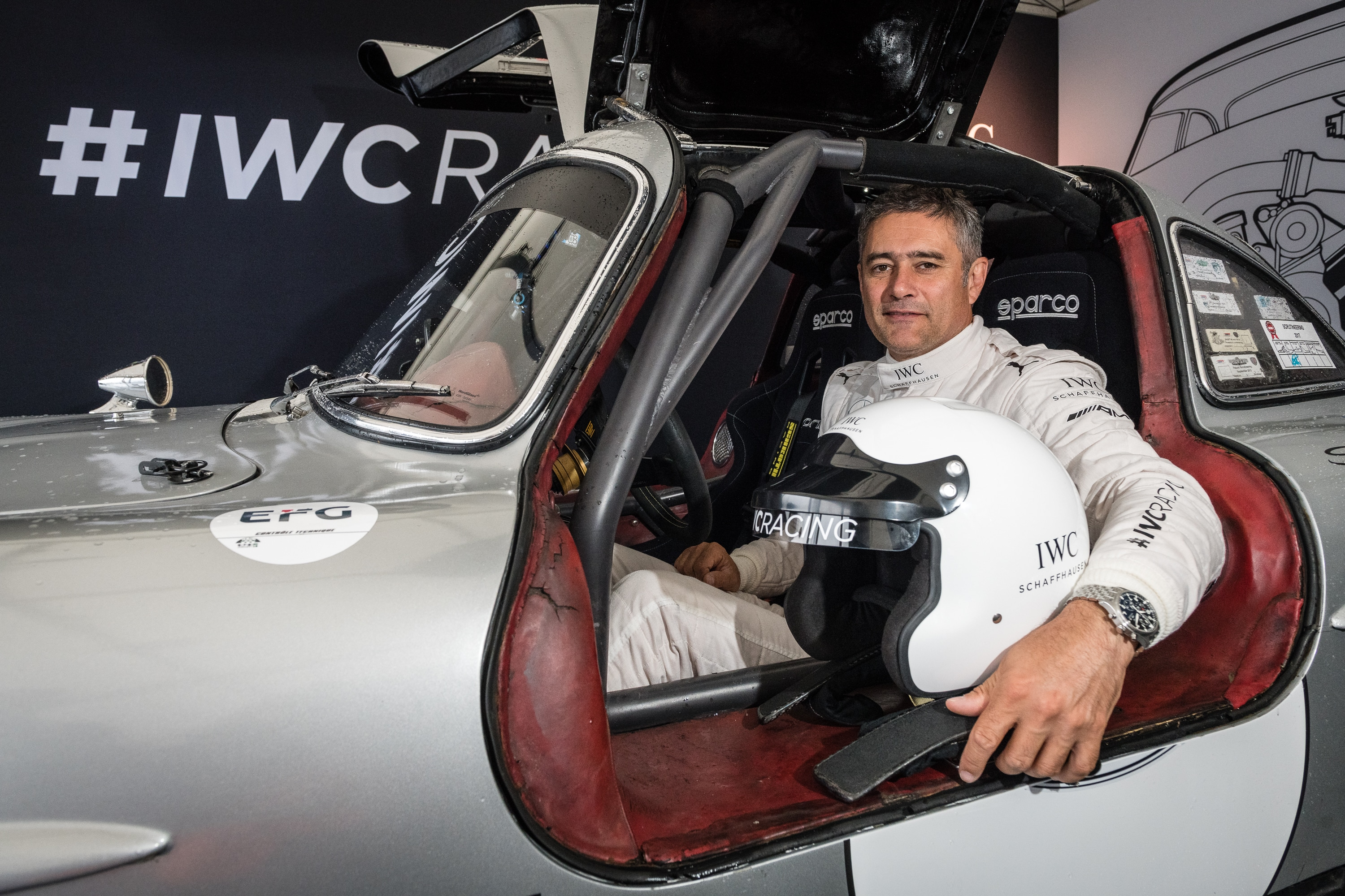 AROSA, SWITZERLAND – 03. September 2018: IWC Racing Team made its official Swiss debut at the 14th Arosa ClassicCar. Former FORMULA ONE driver Karl Wendlinger drove the Mercedes-Benz