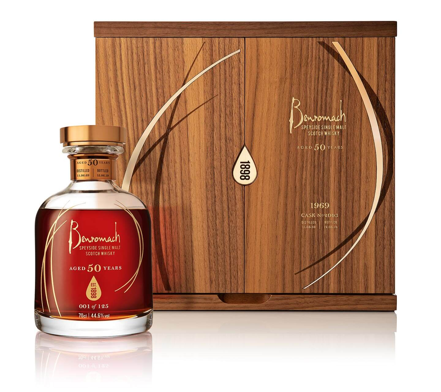 BENROMACH botella Whisky rara y exclusiva de 50 AÑOS