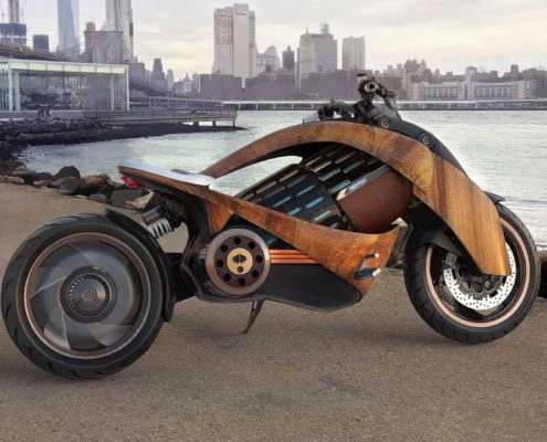 NEWRON EV-1 WOODEN MOTORCYCLE