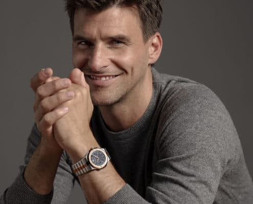 Johannes Huebl wearing the new Chopard Alpine Eagle timepiece