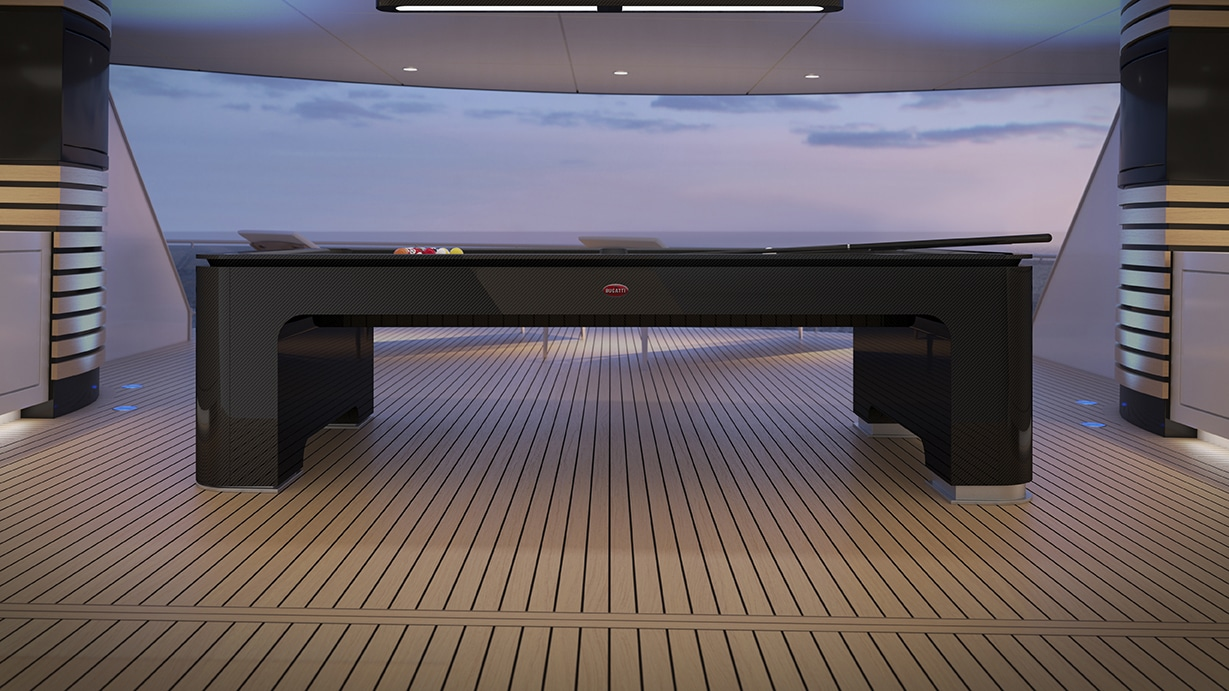 Bugatti reveals carbon fiber Pool Table engineered to Molsheim standards