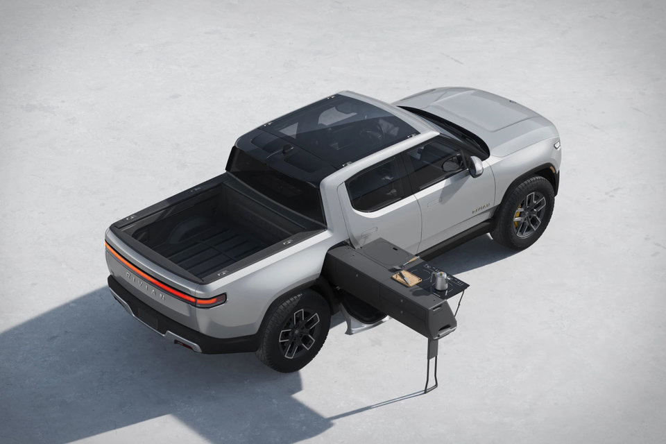 Rivians new R1t Electric Pickup has a mobile kitchen ideal for camping